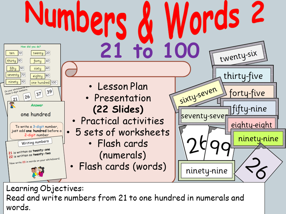 Numbers/Number Words  (2) from 21-100, Presentation, Lesson Plan, Worksheets/Activities, Flash cards