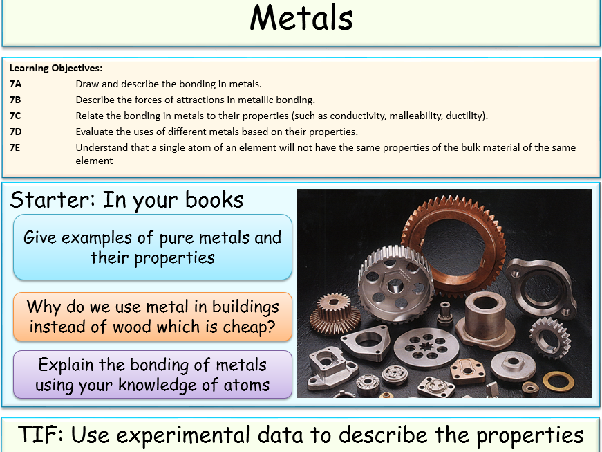 Metal Properties And Industrial Use By Jubblord Teaching Resources