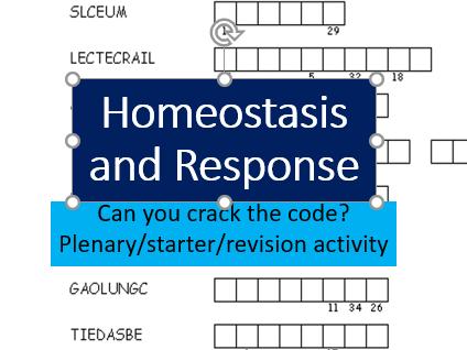 Homeostasis and response - anagram codeword