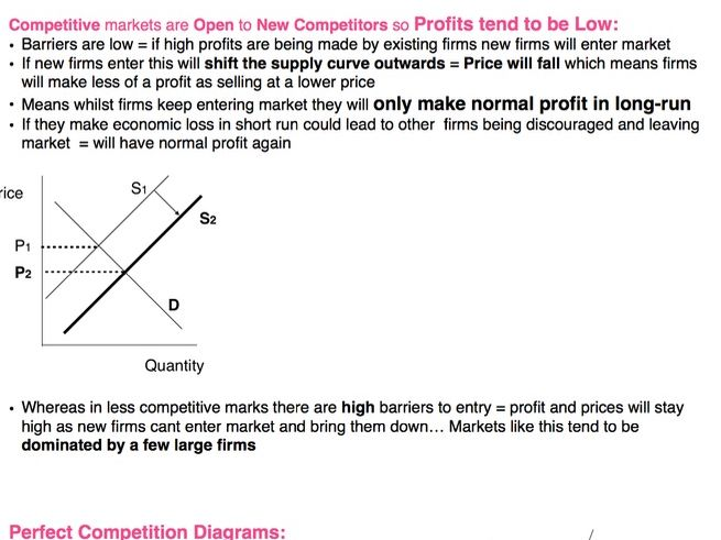 Economics AS/A Level: Revision notes on Competitive and Concentrated Markets