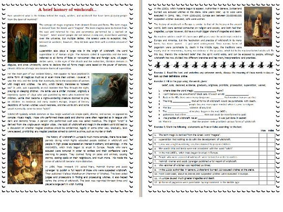 A Brief History of Witchcraft - Halloween Reading Comprehension Text / Worksheet