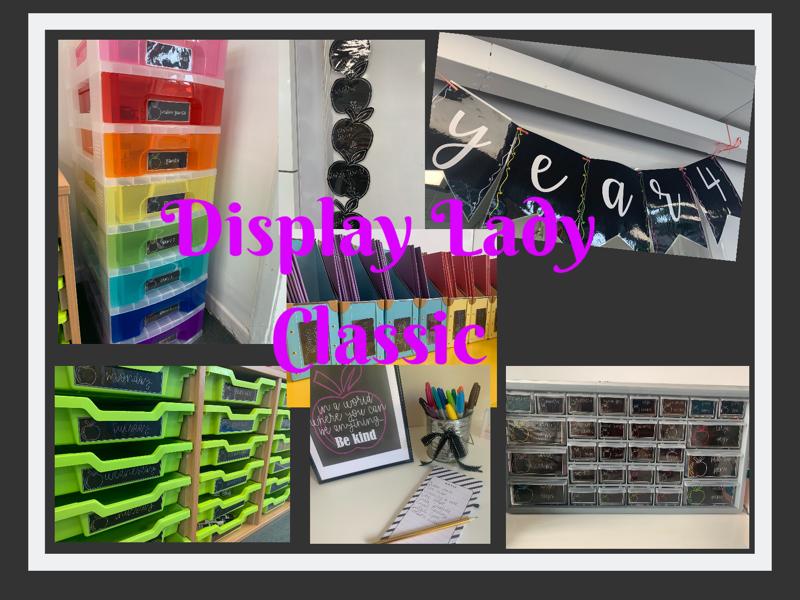 Classroom Display Set: Black with Apples