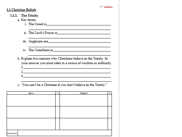 Worship - Revision work sheet or plenary task- EDEXCEL GCSE RS B Christianity