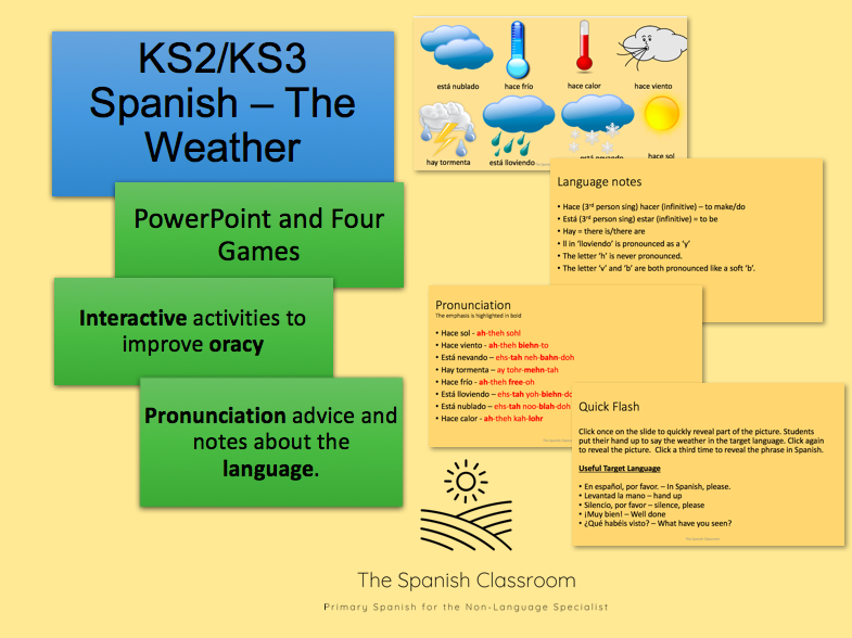 KS2/KS3 Spanish -The Weather Vocabulary and Games