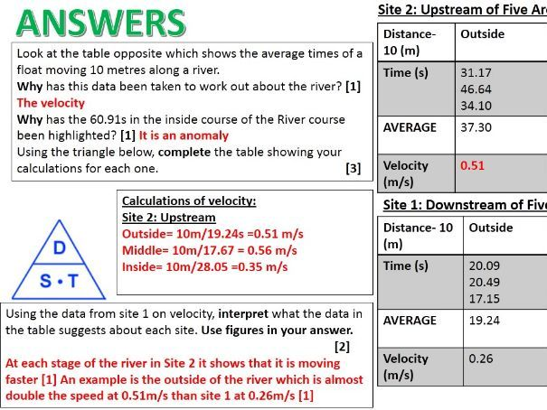 2017-2018 Year 11 OCR B Revision 31) Physical River Fieldwork Revision Specimen Paper WITH ANSWERS