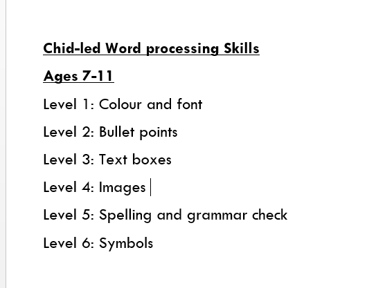 Word Processing Skills KS2 Levels 1-6