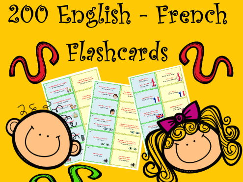 200 English-French Flashcards to study or revise Basic French Vocabulary and Grammar