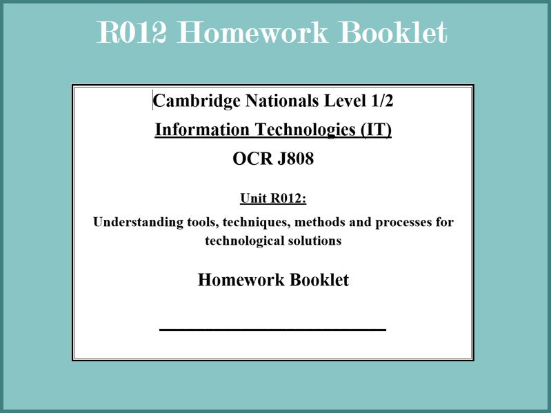 R012 Homework Booklet