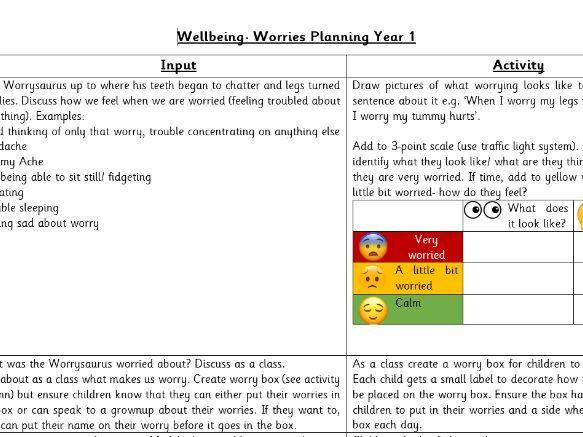 Well-Being Worrysaurus Planning Year 1