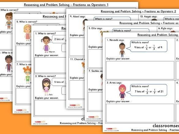 Year 5 Fractions as Operators Spring Block 2 Reasoning and Problem Solving Pack