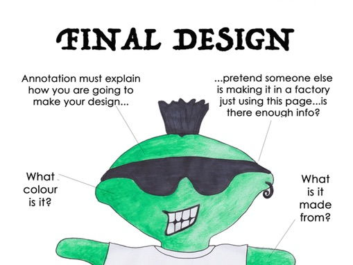 Eco Stuffed Toy: Final Stuffed Soft Toy Design Template With Annotation Guide KS3 Textiles Handout