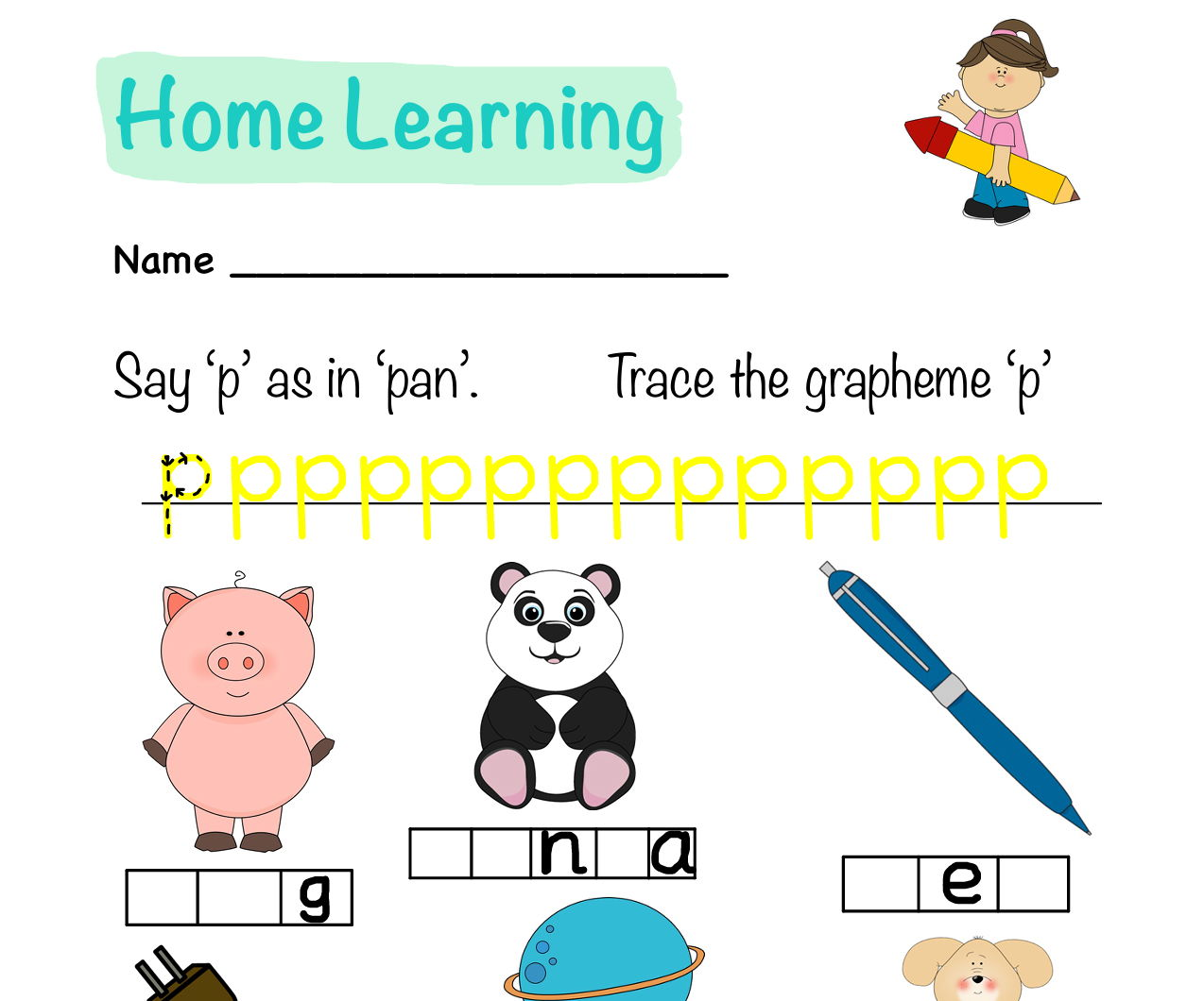 BACK TO SCHOOL S,A,T,P,I,N Letters and Sounds Phonics Homework Sheets
