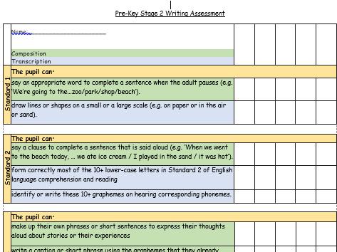 Pre-KS2 Writing Assessment Standards