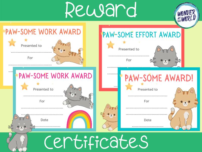 Paw-some cats reward certificates