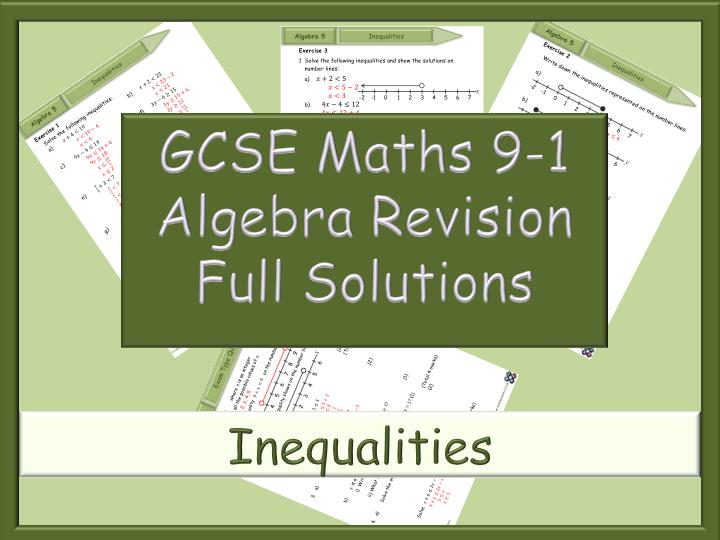 GCSE Algebra Revision 9-1 - Inequalities - Full Solutions