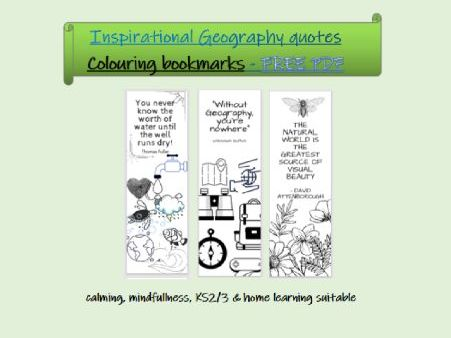 geography quotes colouring bookmarks KS3