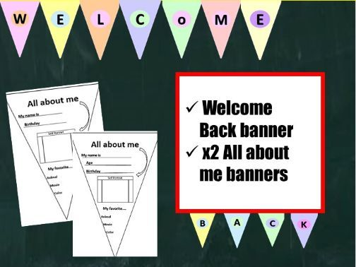 Back to School Bunting Set: Welcome Back & All about me banners