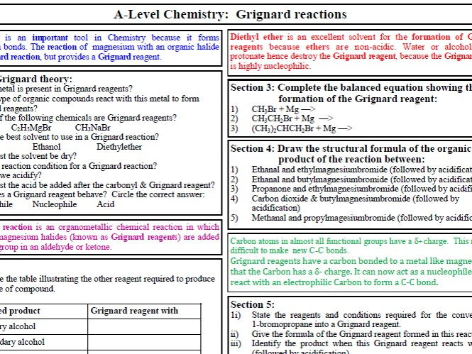 Grignard reactions