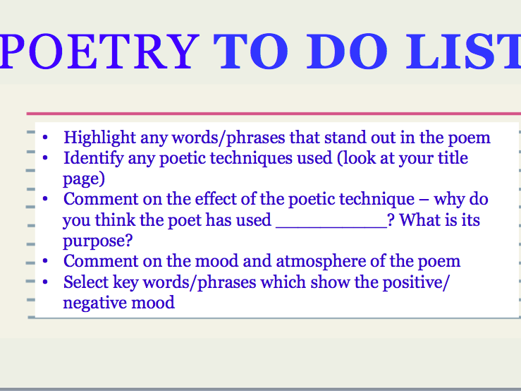 POETRY COMPARISONS FOR INDEPENDENT LANGUAGE EXPLORATION - AQA LITERATURE AO1 AND AO2 FOCUS