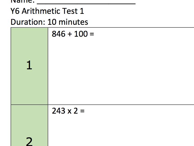 10 Minute KS2 arithmetic test