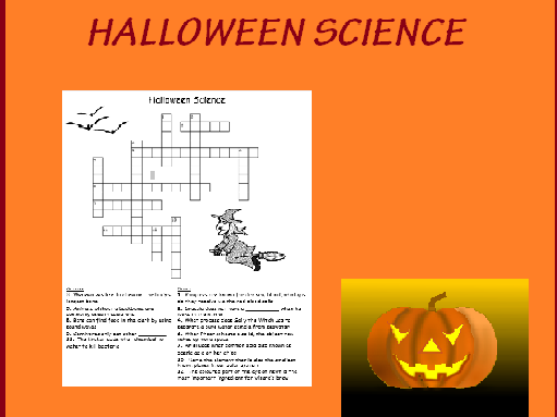 Halloween themed Science Crossword with ANSWERS