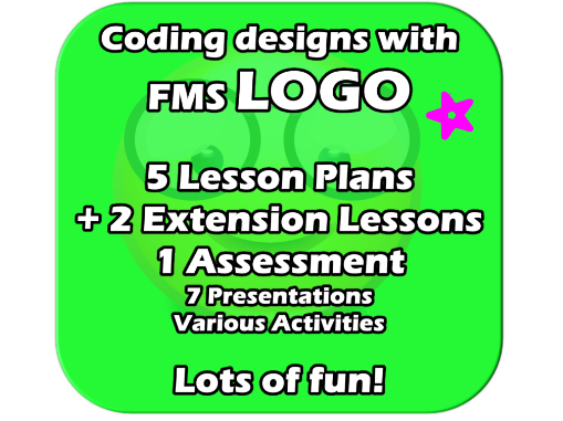 FMS LOGO - Controlling the Turtle! Complete 6+  Lesson Unit - FUN Programming Commands for Kids