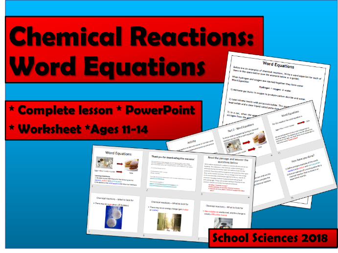 Chemical Reactions - word equations