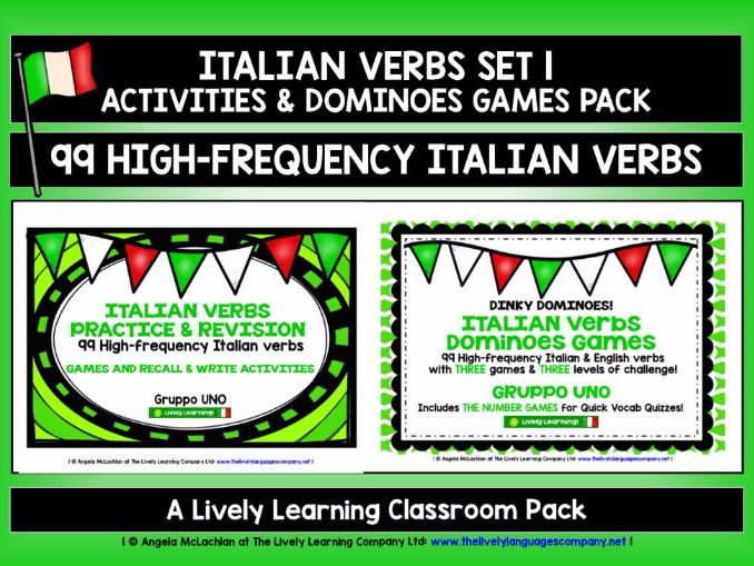 ITALIAN VERBS (1) - ACTIVITIES & DOMINOES PACK - 99 HIGH-FREQUENCY VERBS