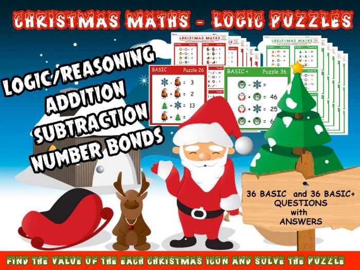 CHRISTMAS MATHS - LOGIC PUZZLES using ADDITION and SUBTRACTION