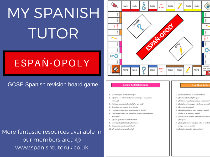 GCSE Spanish Revision - Monopoly Themed Speaking Game
