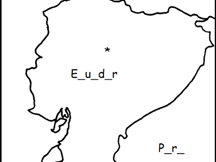 Ecuador - Printable handout - fill in the blanks and color the map