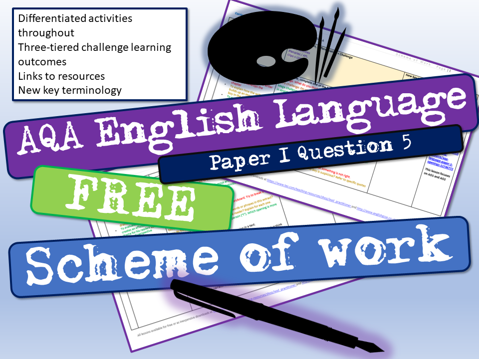 AQA English Language Paper 1 Question 5 Scheme of Work by Lead_Practitioner | Teaching Resources