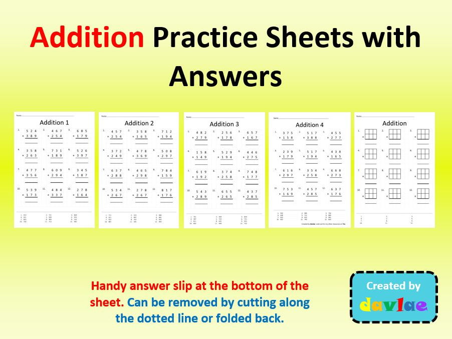 Addition Practice Sheets with Answers