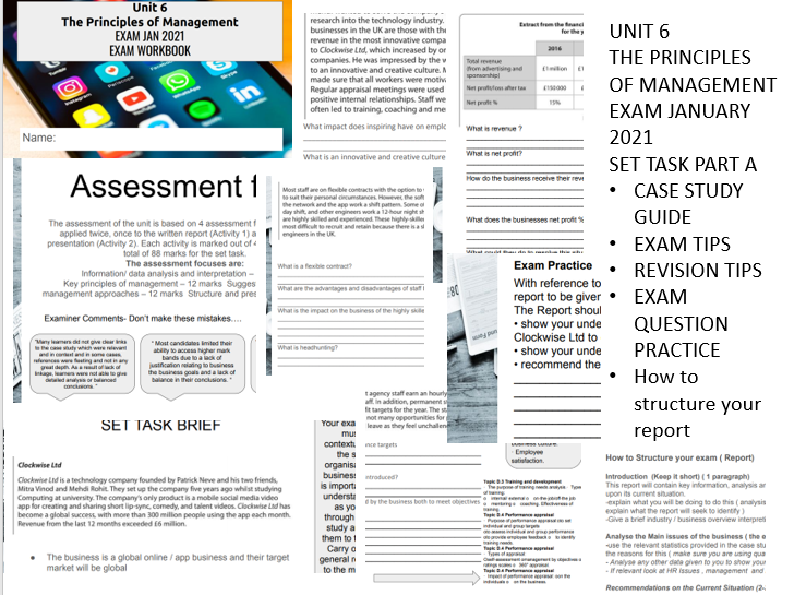 unit 6 principles of management exam case study 2021 clockwise ltd