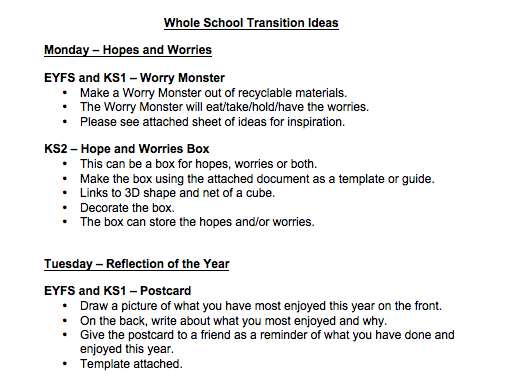 Transition Activities - Whole School