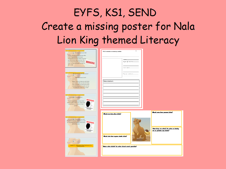 Lion King Literacy Create a missing poster for Nala Year 1 Adverts Editable
