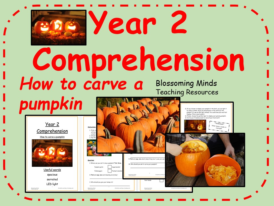 Year 2 comprehension - How to carve a pumpkin (Halloween)