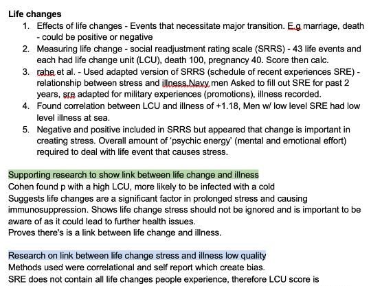 A-Level Psychology: Stress Notes