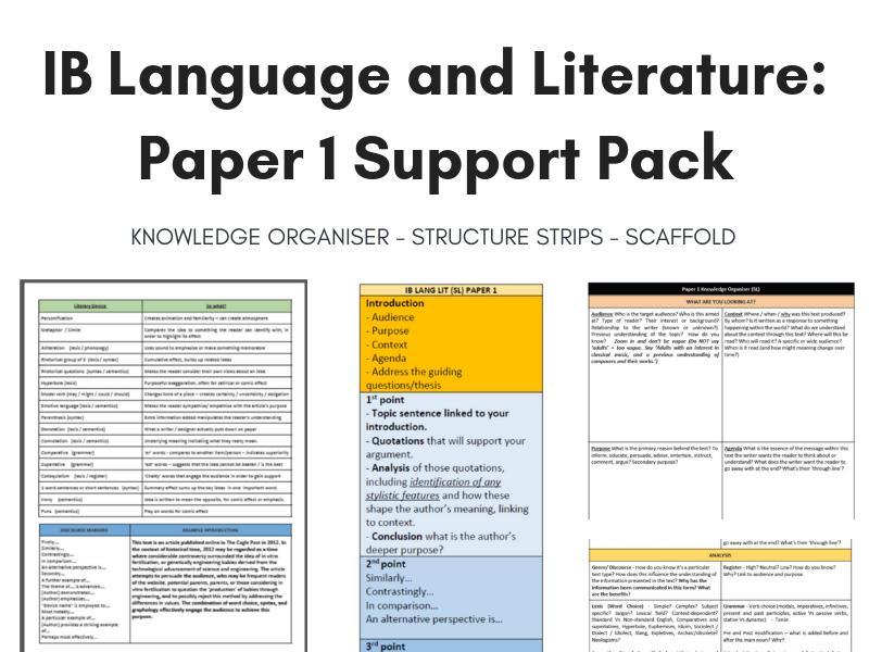 IB Lang Lit Paper 1 Knowledge Organiser