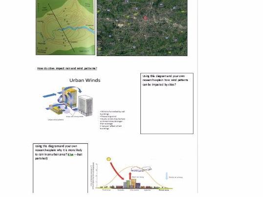 Microclimates homework sheet - heat islands and wind patterns - Eduqas