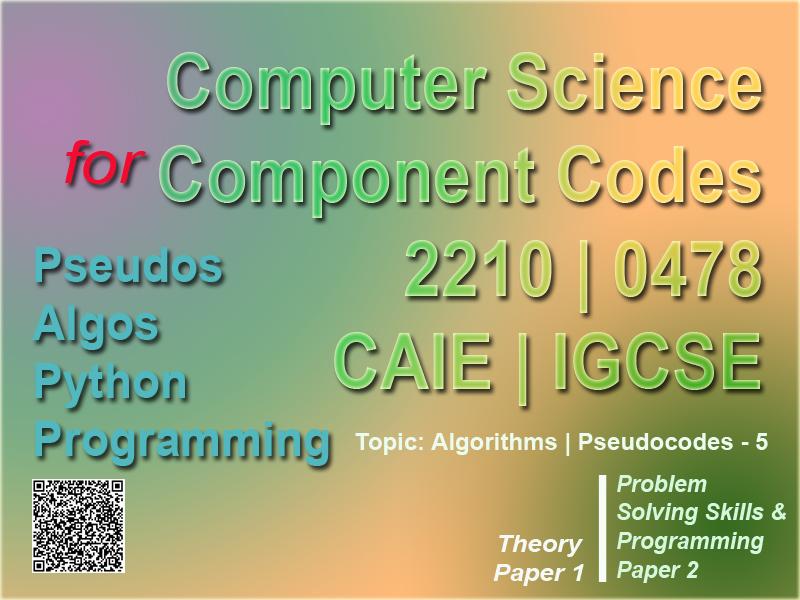 Algorithms   Pseudocode Part 5   Worksheet