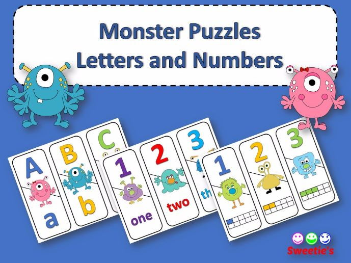 Number and ABC Puzzles - Monster Theme