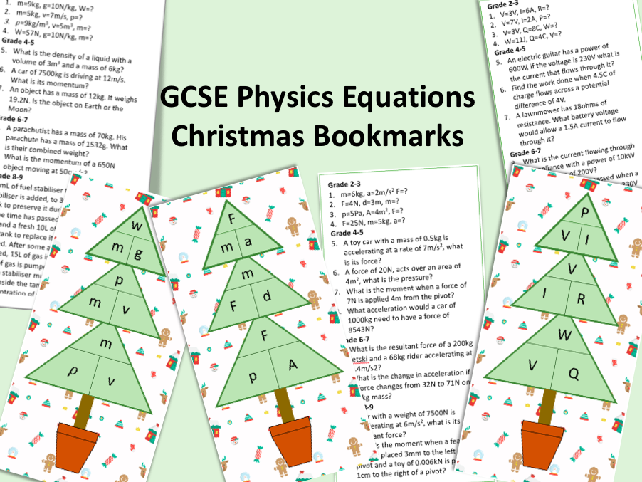 GCSE Physics Equations Christmas Activity Bookmarks
