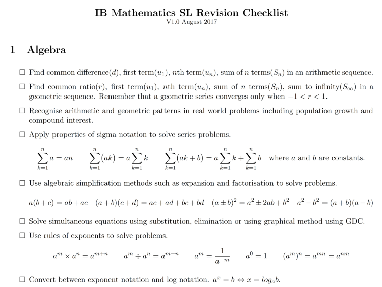 IB Math SL Revision Checklist