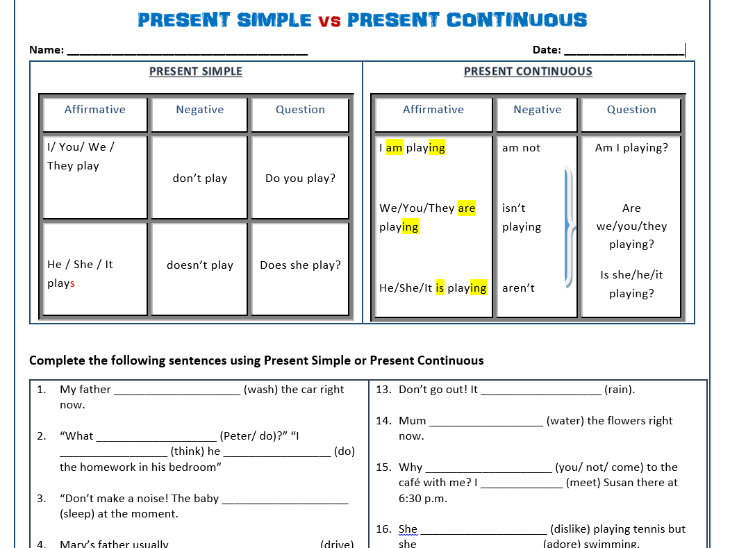 present simple vs present continuous worksheets