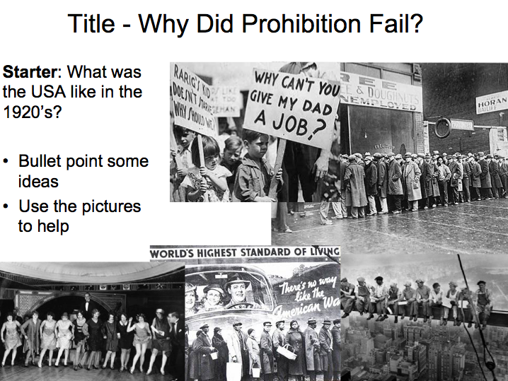 Year 9 Prohibition - Lesson 3 why did Prohibition fail?