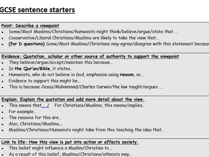 Sentence starters for RE GCSE