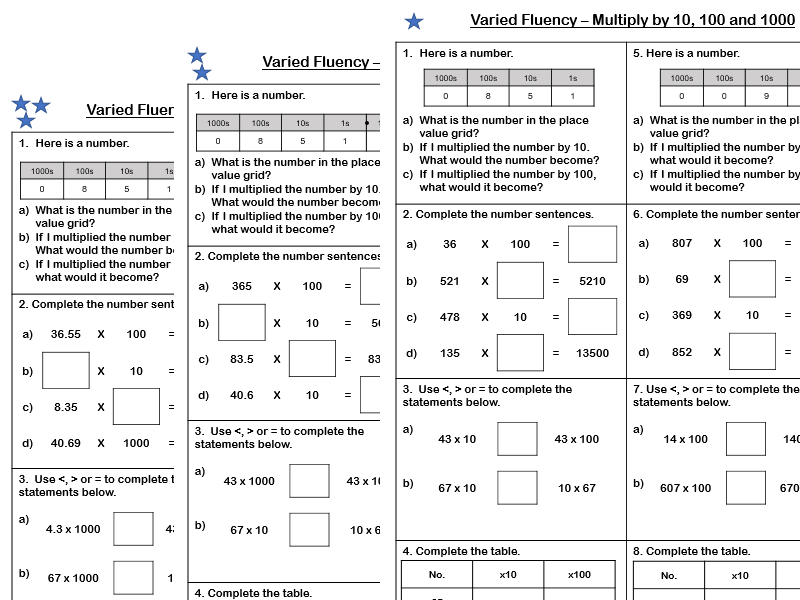 White Rose Maths - Year 5 - Block 4 - Multiply by 10, 100 and 1000 (Varied Fluency)