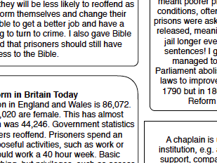 Eduqas RS GCSE New Spec. Issues of Good and Evil Prison Reform and Chaplains information sheet