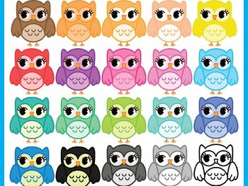 Owls Clip Art Set, 20 Graphic, Personal and Commercial Use